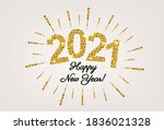 happy new year card with golden ...   Shutterstock .eps vector #1836021328