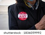 Small photo of Washington D.C./USA- October 12 2020: A Conservative showing her support for Amy Coney Barret by wearing a button.