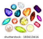 big pile of gems isolated on... | Shutterstock . vector #183613616