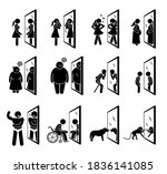 different people looking into... | Shutterstock .eps vector #1836141085