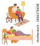 daddy caring for child vector ... | Shutterstock .eps vector #1836176608