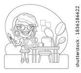cartoon beautiful hipster... | Shutterstock .eps vector #1836186622