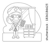 cartoon masked nurse with pills ... | Shutterstock .eps vector #1836186625