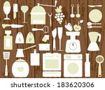 white kitchen utensils on the... | Shutterstock .eps vector #183620306