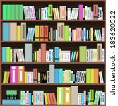 bookcase with colorful books in ... | Shutterstock . vector #183620522