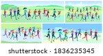 people marathon running sport... | Shutterstock .eps vector #1836235345
