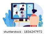 video calling. online... | Shutterstock .eps vector #1836247972