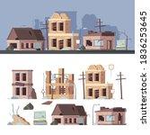 damaged buildings. bad old... | Shutterstock .eps vector #1836253645