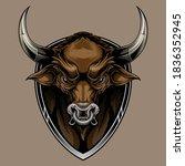 bull head on shield mascot.... | Shutterstock .eps vector #1836352945