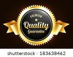golden premium quality badge | Shutterstock .eps vector #183638462