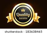 golden premium quality badge | Shutterstock .eps vector #183638465