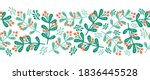 Christmas mistletoes seamless vector border. Scandinavian style green and red Christmas holiday repeating pattern. Use for ribbons, fabric trim, cards - stock vector