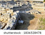 Small photo of Ruins of an ancient settlement. Kalos Limen (ancient Greek Κᾰλός Λ�μήν) is an ancient Greek city in the north-west of Crimea, which existed since the 4th century. BC.