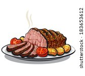 roast beef with potatoes | Shutterstock .eps vector #183653612