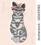 Cute Hipster Rockabilly Cat...