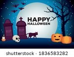 happy halloween celebration... | Shutterstock .eps vector #1836583282