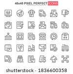 delivery thin line icons set....