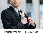 pocketing company money.... | Shutterstock . vector #183660635
