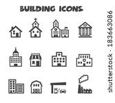building icons  mono vector... | Shutterstock .eps vector #183663086