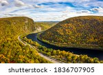 Aerial view of Delaware Water Gap on a sunny autumn day. The Delaware Water Gap is a water gap on the border of the U.S. states of New Jersey and Pennsylvania