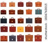 Briefcase Icons Set. Cartoon...