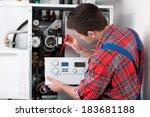 technician servicing the gas... | Shutterstock . vector #183681188