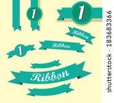set of retro turquoise ribbons... | Shutterstock .eps vector #183683366