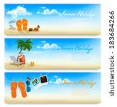 three summer vacation banners.... | Shutterstock .eps vector #183684266