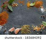 assorted spices on blackboard...   Shutterstock . vector #183684392