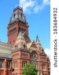 Small photo of Cambridge, Massachusetts in the United States. Famous Harvard University - Memorial Hall.