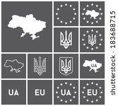 set of flat dark simple icons ... | Shutterstock .eps vector #183688715