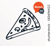 hand drawn piece of pizza.... | Shutterstock .eps vector #183696422