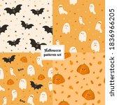 set of four halloween seamless... | Shutterstock .eps vector #1836966205