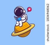 cute astronaut read book on... | Shutterstock .eps vector #1836968062