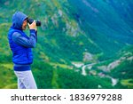Tourist Woman Enjoy Mountains...