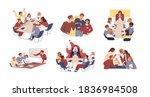 collection of scenes of tense... | Shutterstock .eps vector #1836984508