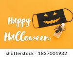 happy halloween text on evil... | Shutterstock . vector #1837001932