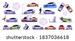 car accidents set isolated on... | Shutterstock .eps vector #1837036618