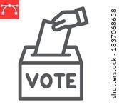 hand voting ballot box line...   Shutterstock .eps vector #1837068658