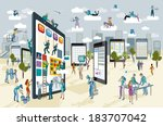 a team of people work... | Shutterstock .eps vector #183707042