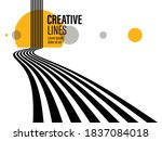 3d black and white lines in... | Shutterstock .eps vector #1837084018