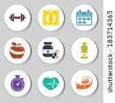 fitness set | Shutterstock .eps vector #183714365