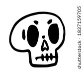 hand drawn cartoon skull. funny ... | Shutterstock .eps vector #1837159705