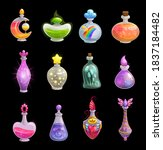 potion bottles vector icons ... | Shutterstock .eps vector #1837184482