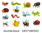 cute bugs and insects cartoon... | Shutterstock .eps vector #1837184542