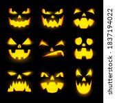 scary glow pumpkin faces... | Shutterstock .eps vector #1837194022