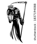 reaper with scythe and lantern. ... | Shutterstock .eps vector #1837194088