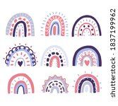 set of cute doodle rainbow...   Shutterstock .eps vector #1837199962