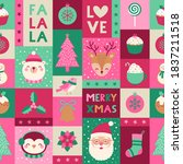 cute christmas elements... | Shutterstock .eps vector #1837211518