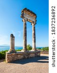 Roman Corinthian column from Noviodunum in Nyon. Nyon is a town on the shores of Lake Geneva in the canton of Vaud in Switzerland